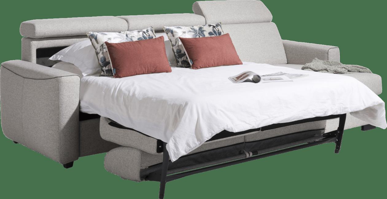 Canapé d'angle convertible en tissu gris clair