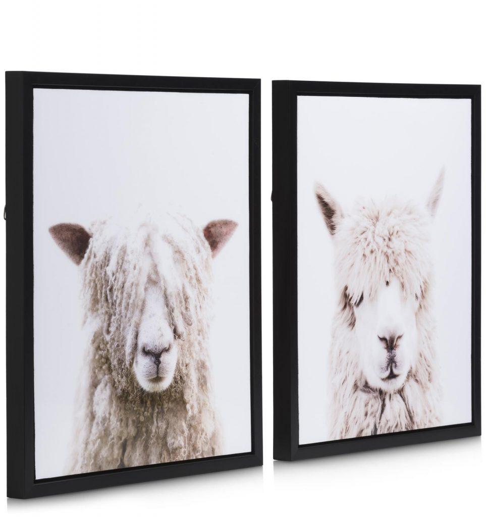 Ensemble de deux peintures alpaga et mouton