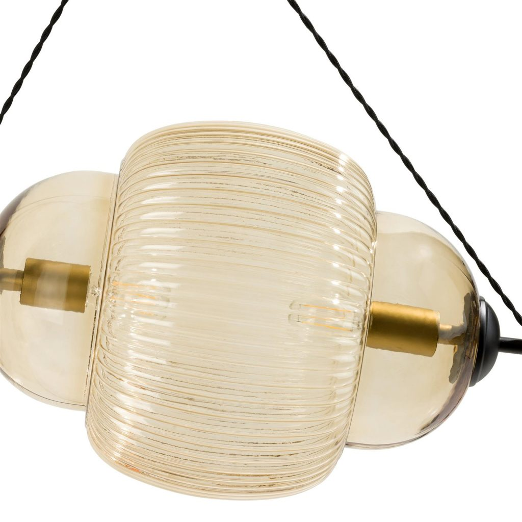 Luminaire vintage en verre brun