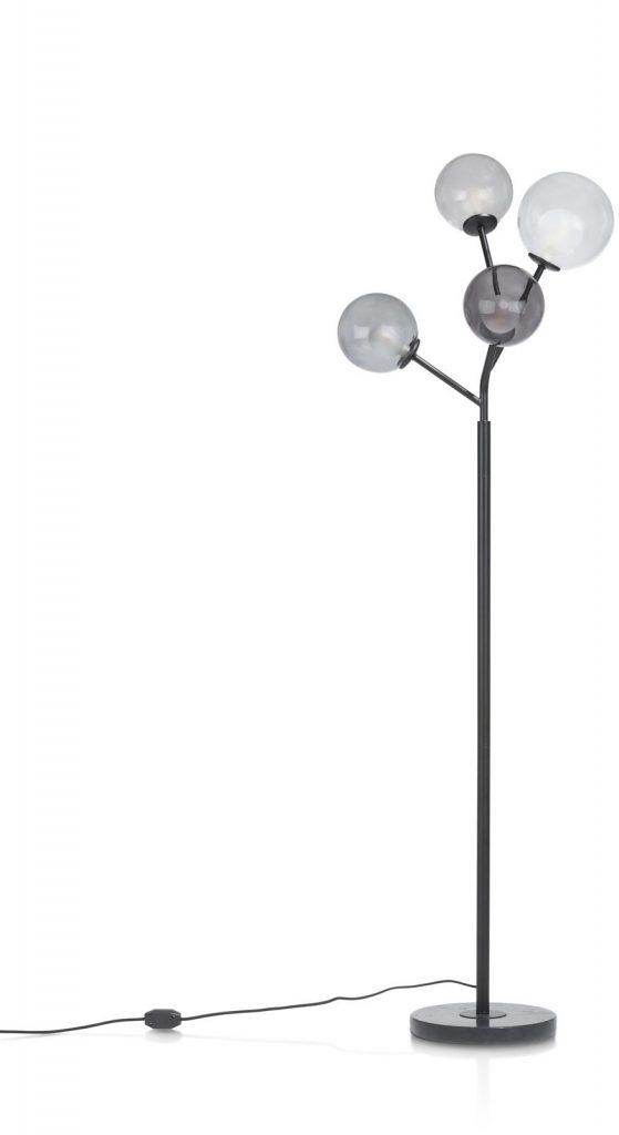 Lampadaire contemporain pied métal noir et boules en verre transparent