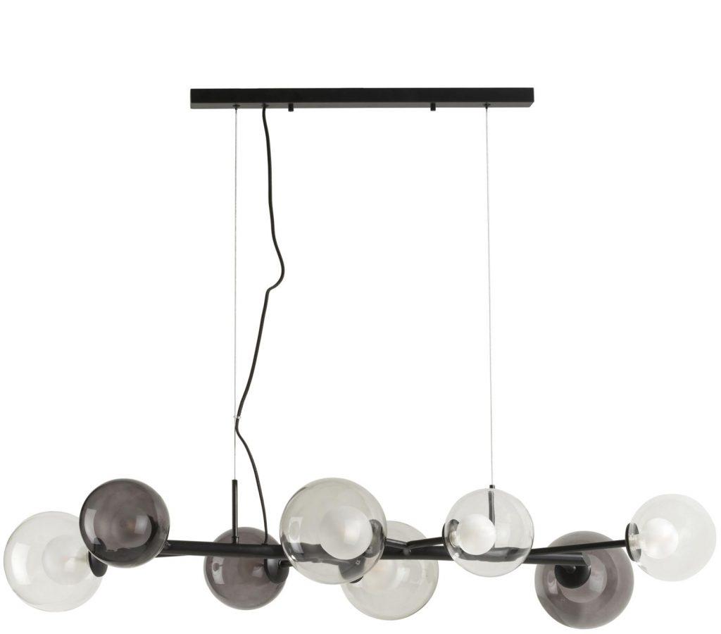Suspension contemporaine avec boules en verre transparentes