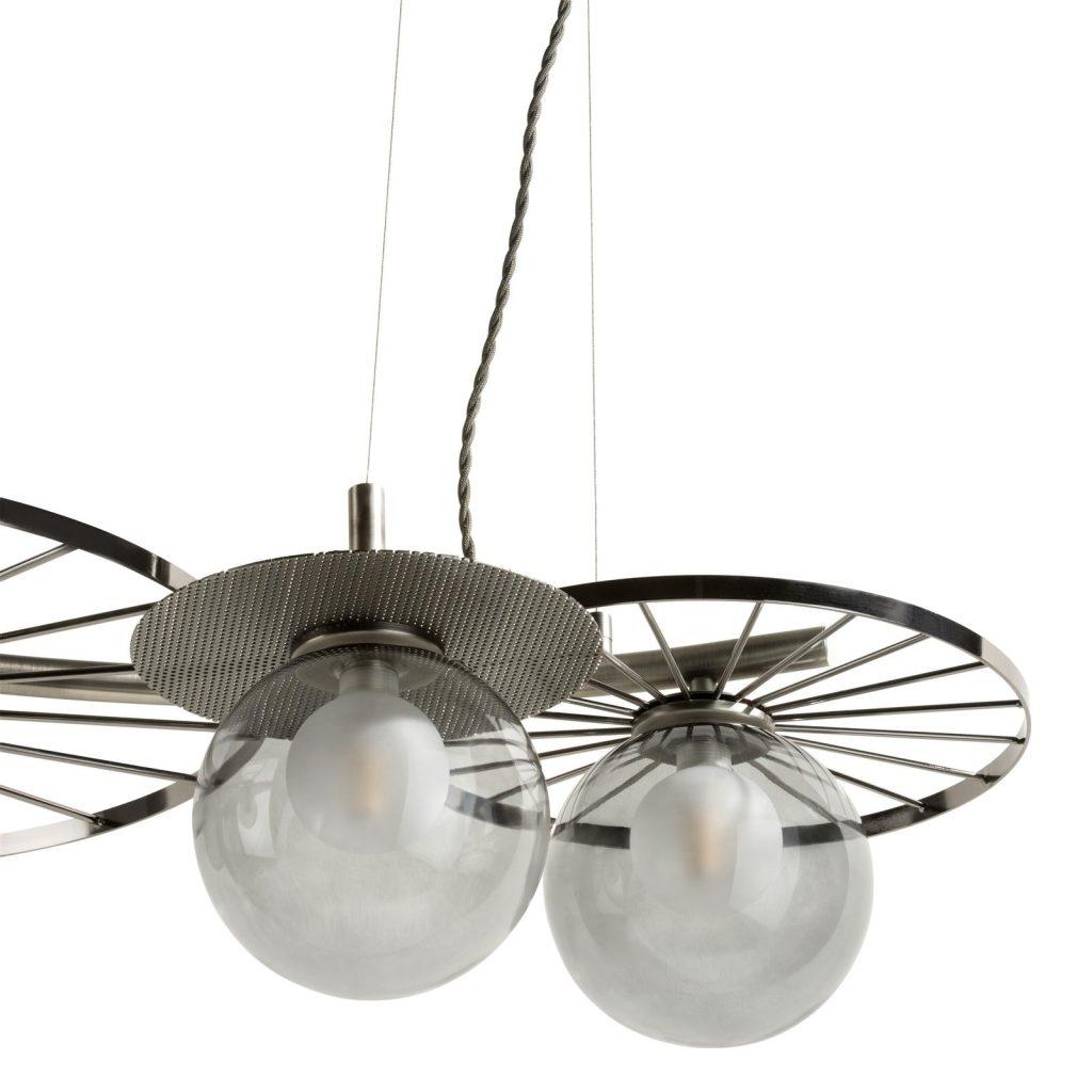 Suspension design en métal chromé avec 4 ampoules