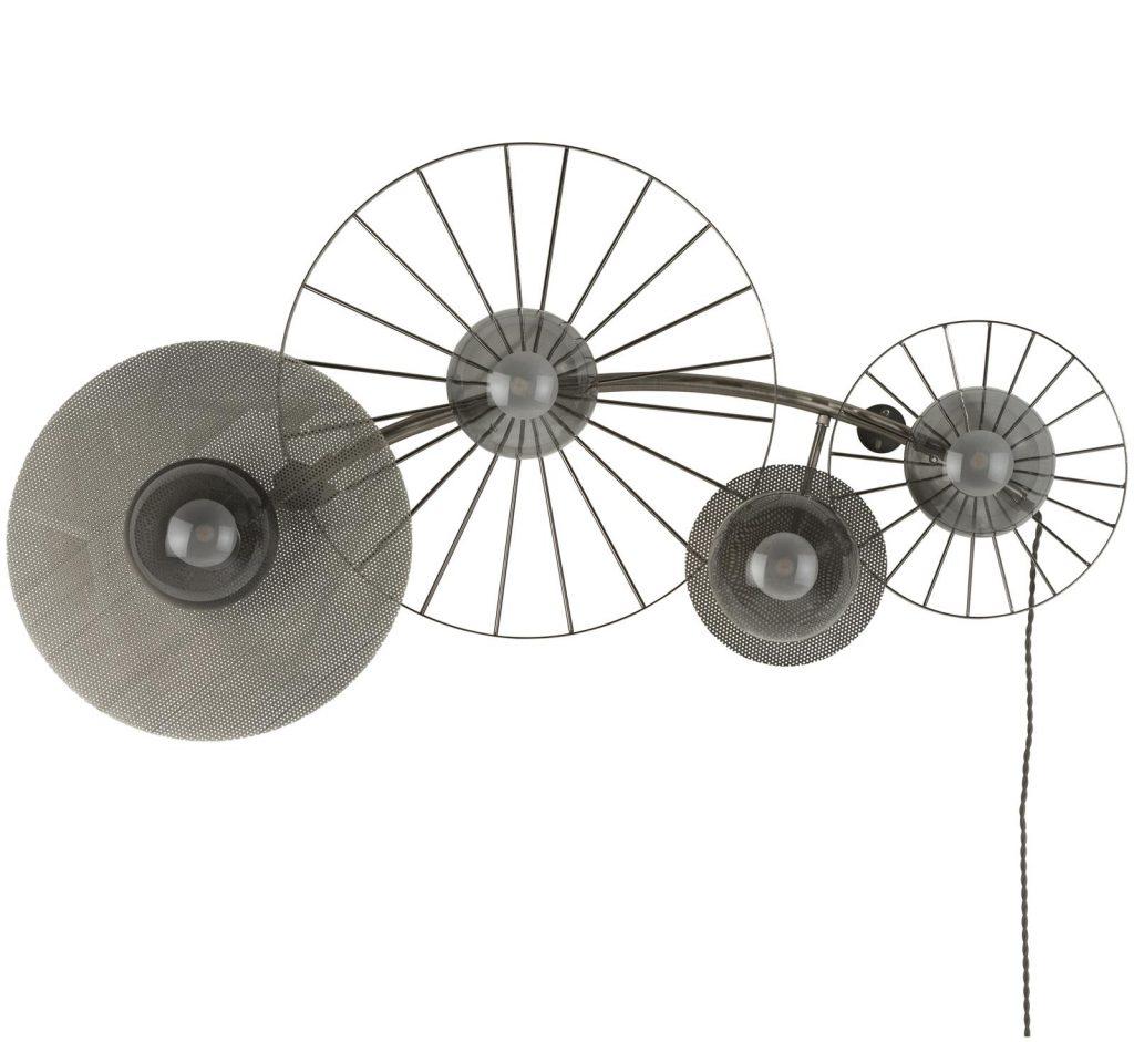 Applique murale design 4 ampoules et armature en métal chromé