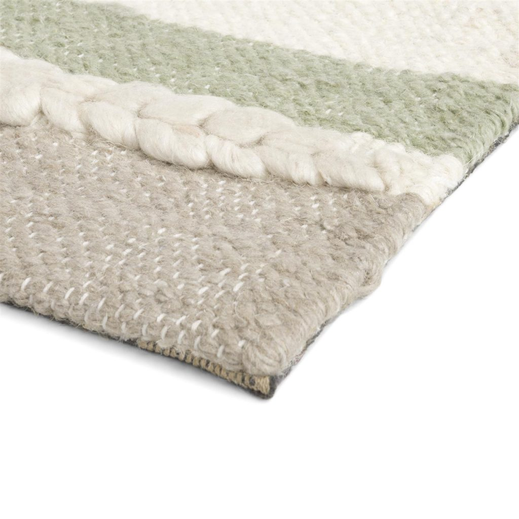 Tapis tendance nature vert et beige avec laine