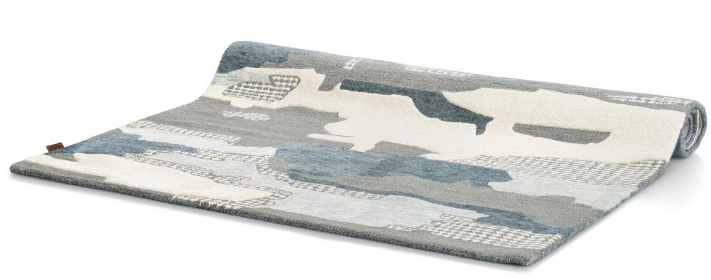 Tapis rectangulaire en laine tendance bleu et gris