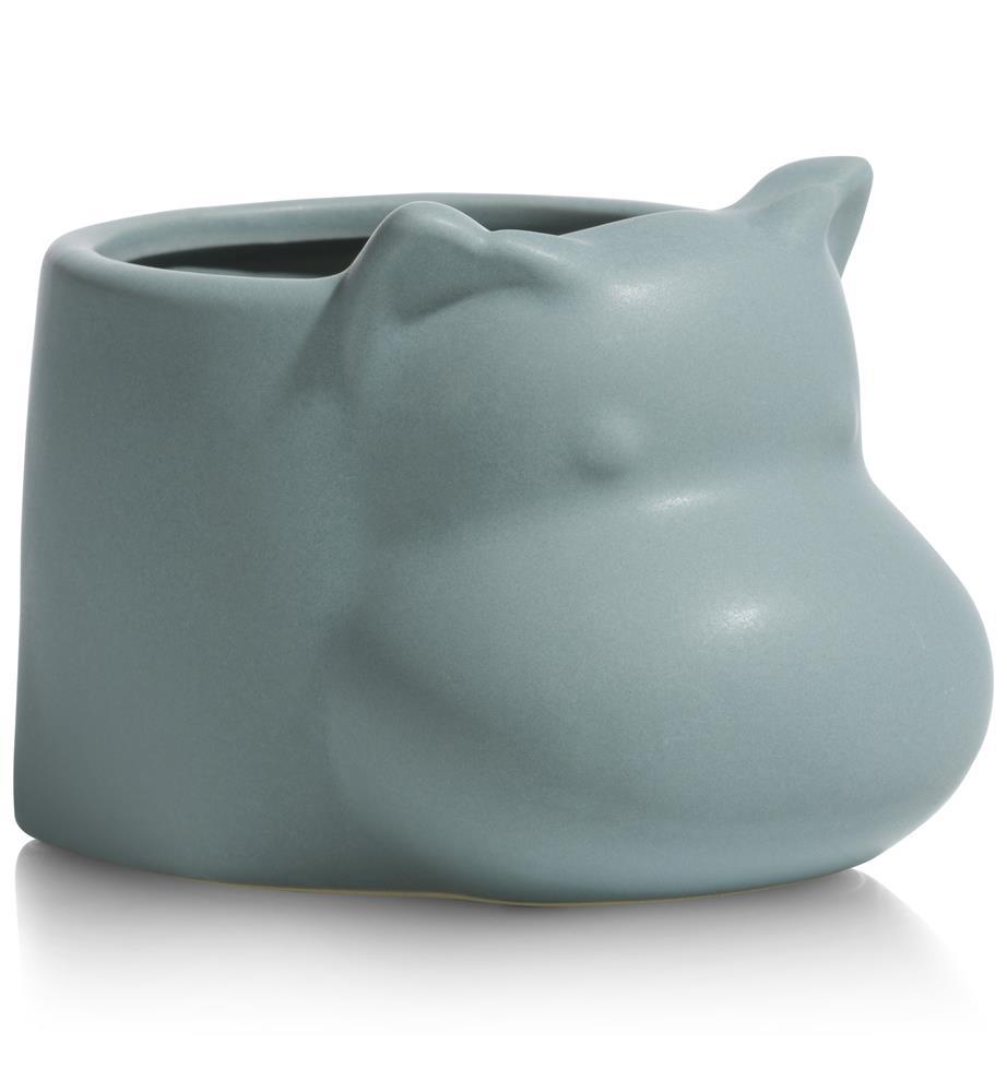 Pot en céramique bleu-gris représentant un hippopotame