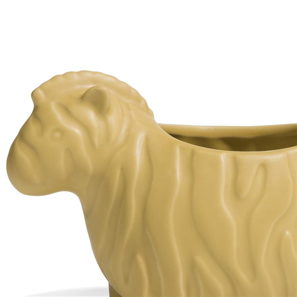 Petit pot en céramique jaune représentant un zèbre
