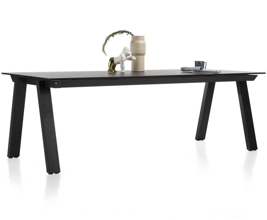 Table à manger contemporaine plateau céramique gris anthracite et piétement métal noir