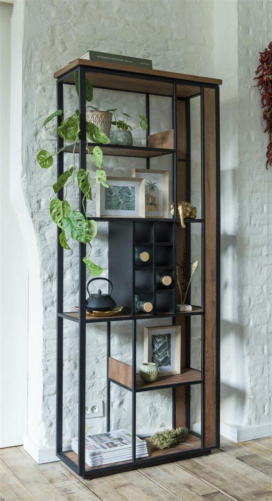 Bibliothèque métal noir et bois de chêne foncé