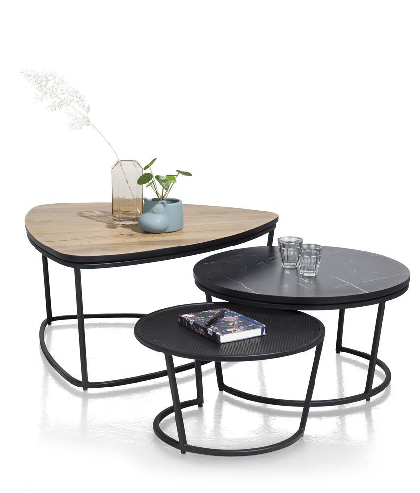 Ensemble tables gigognes bois de chêne marbre noir et métal noir