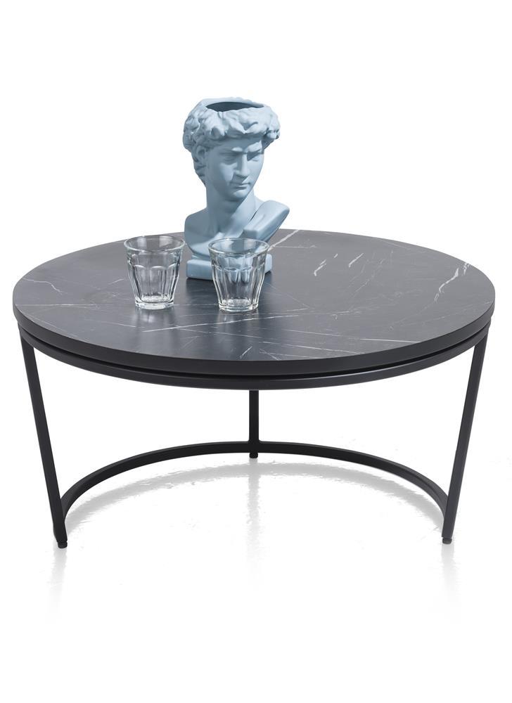 Bout de canapé moderne plateau effet marbre noir