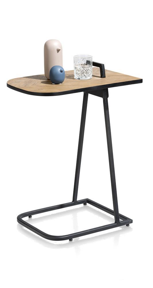 Tablette d'appoint en plaquage bois et pied métal noir