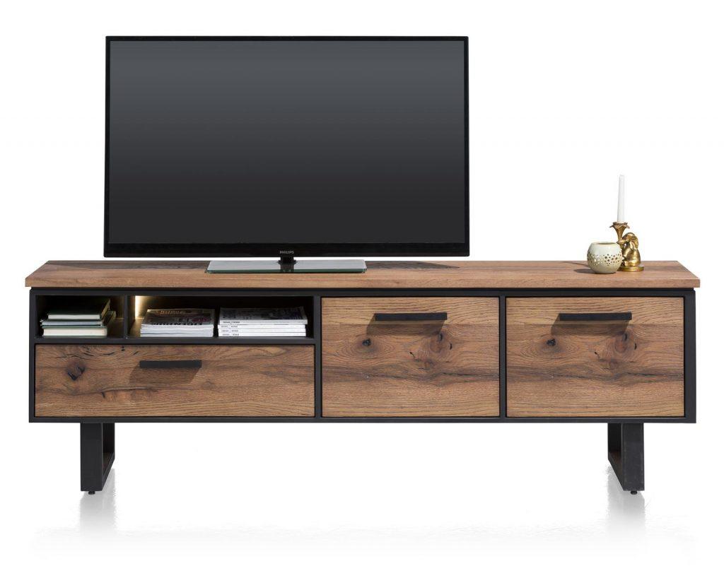 Meuble TV robuste métal noir et bois de chêne plaqué