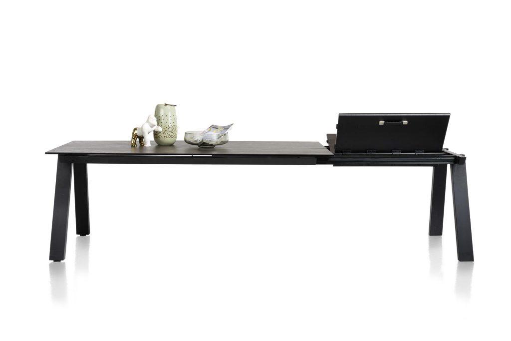Table à rallonge moderne avec plateau en céramique gris anthracite