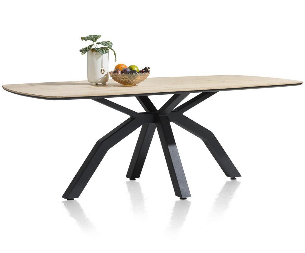 Table de repas conviviale bois de chêne et pied central en métal noir