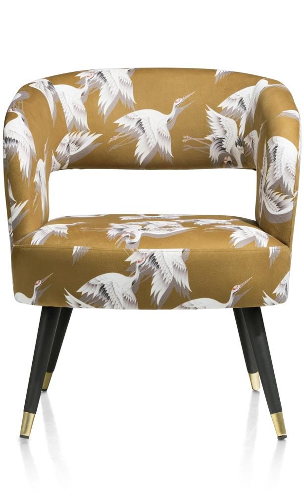 Fauteuil en tissu jaune moutarde avec motifs oiseaux