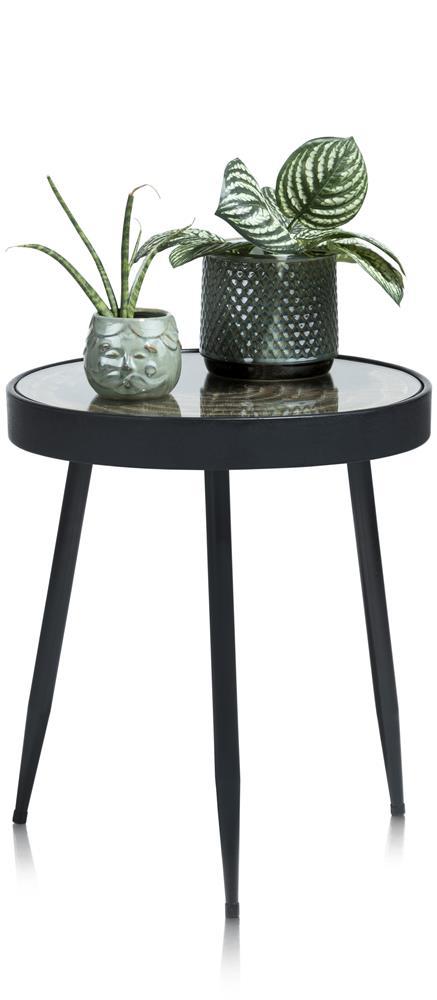 Table d'appoint en verre et métal noir sur 3 pieds