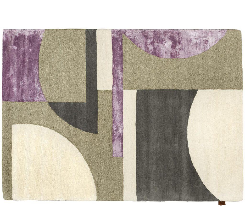 Tapis rectangulaire motifs géométriques vert et violet