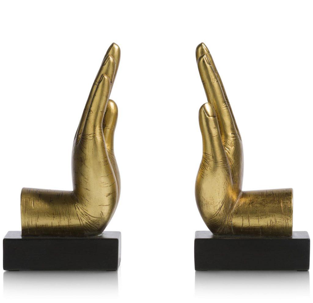 Serre-livre socle noire et high-five doré