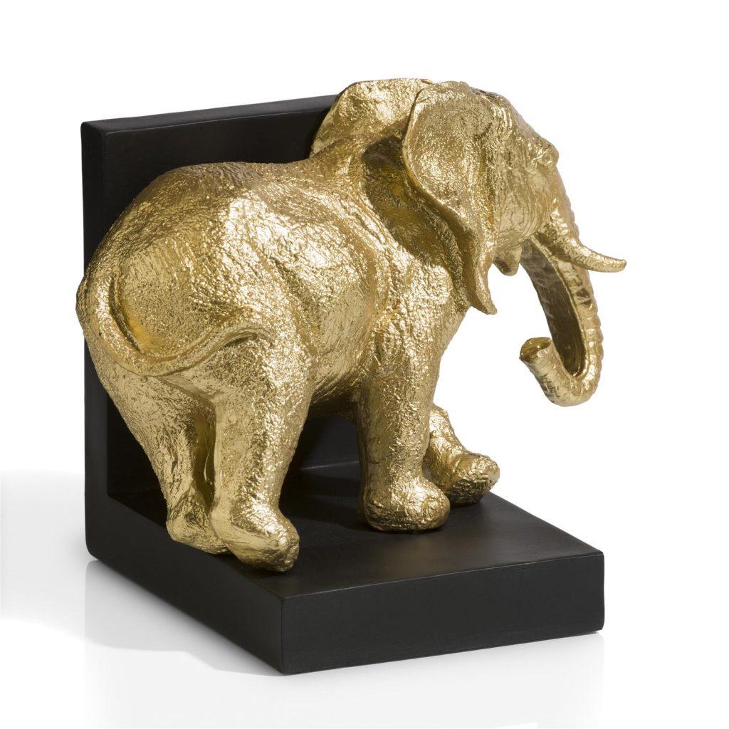 Serre-livre noir avec sculpture éléphant doré