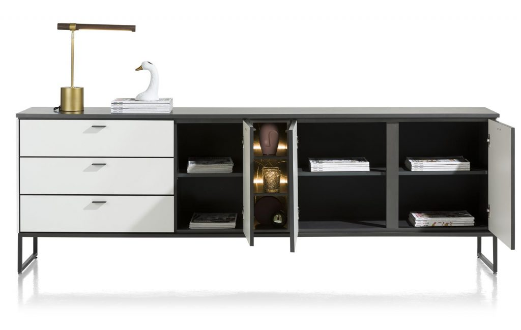 Buffet contemporain minimaliste noir et blanc