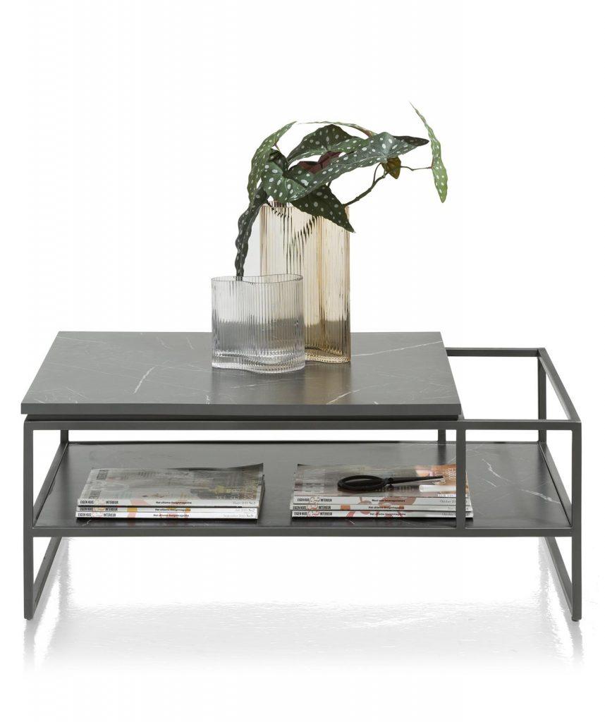 Table basse moderne plateau effet marbre noir et structure métallique