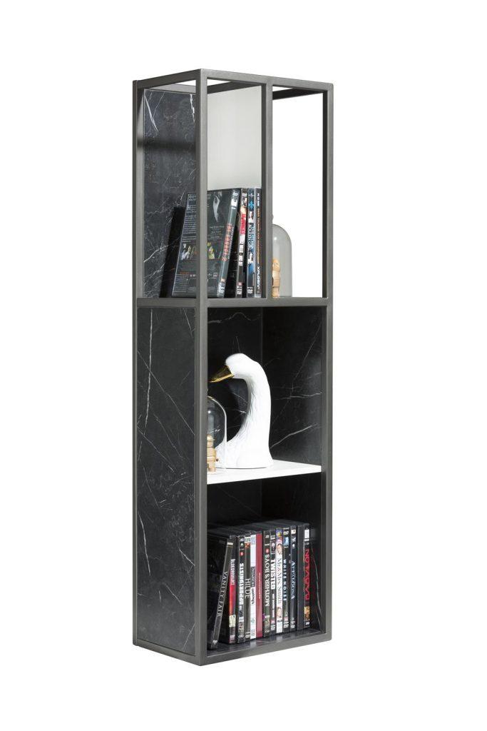 étagère ouverte style contemporain métal couleur graphite et effet marbre noir