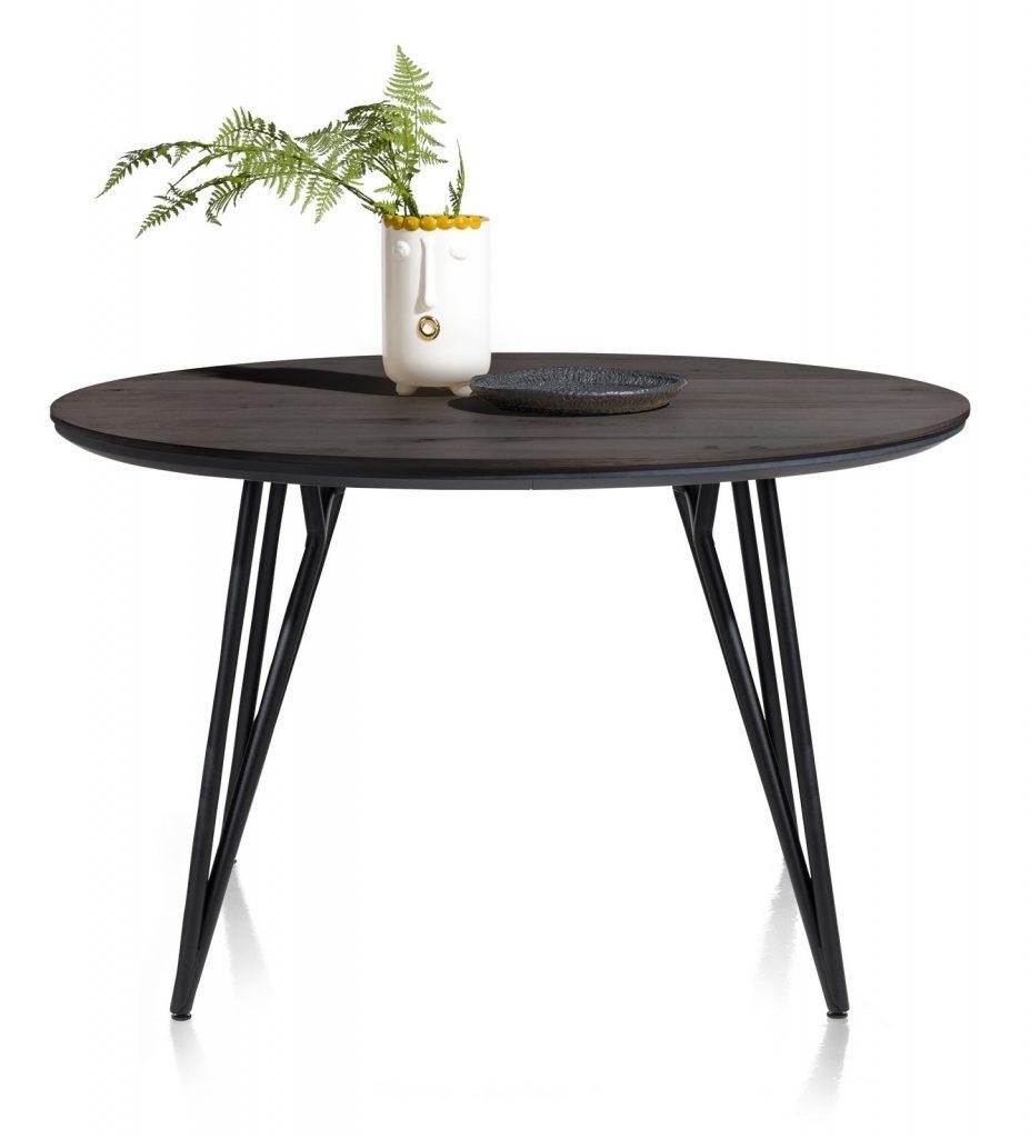 Table à manger ronde scandinave plateau en placage bois de chêne
