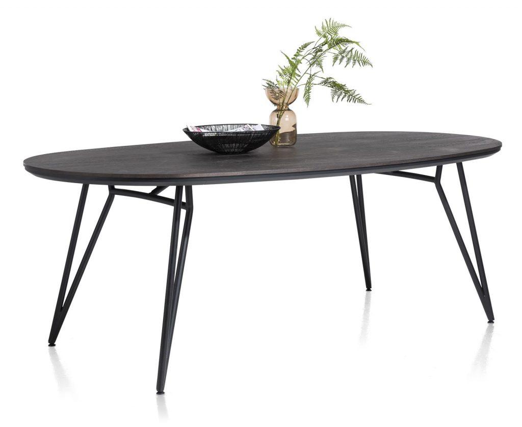 Table à manger ovale scandinave plateau en placage bois de chêne