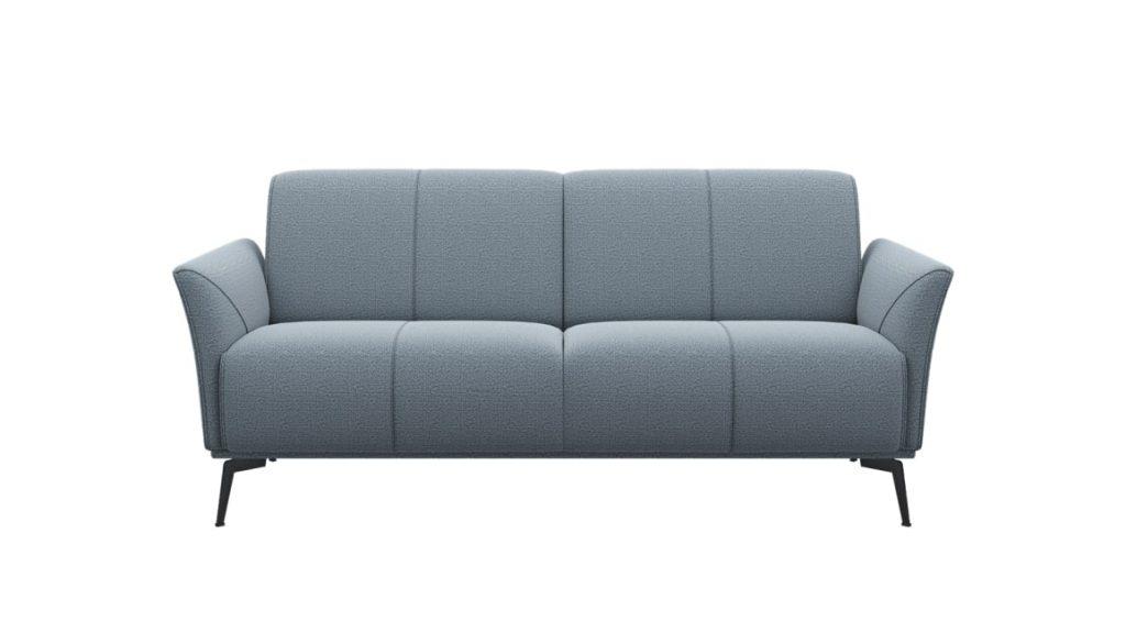 Canapé 2,5 places minimaliste en tissus gris clair