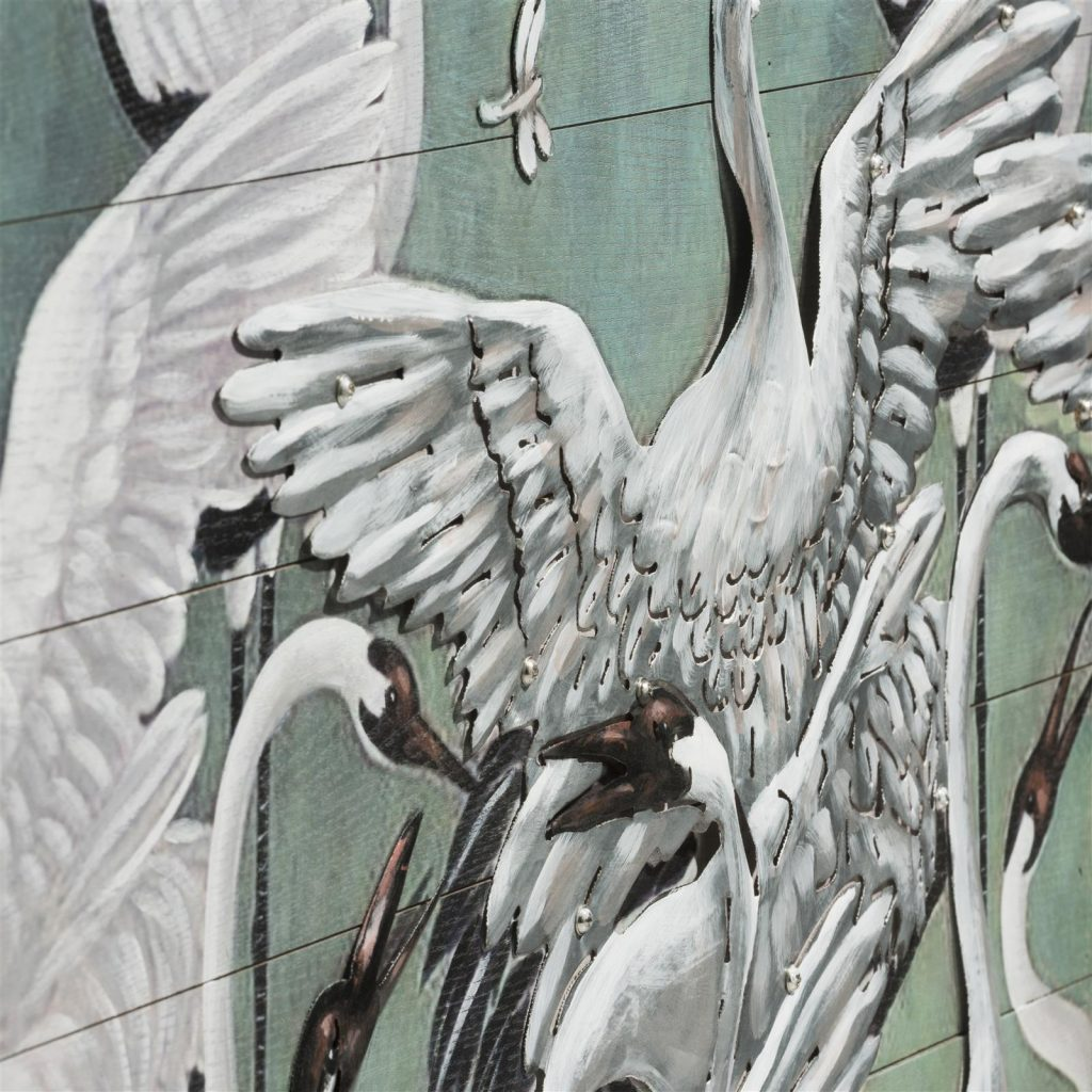 Peinture carré représentant des cigognes blanches sur fond couleur menthe