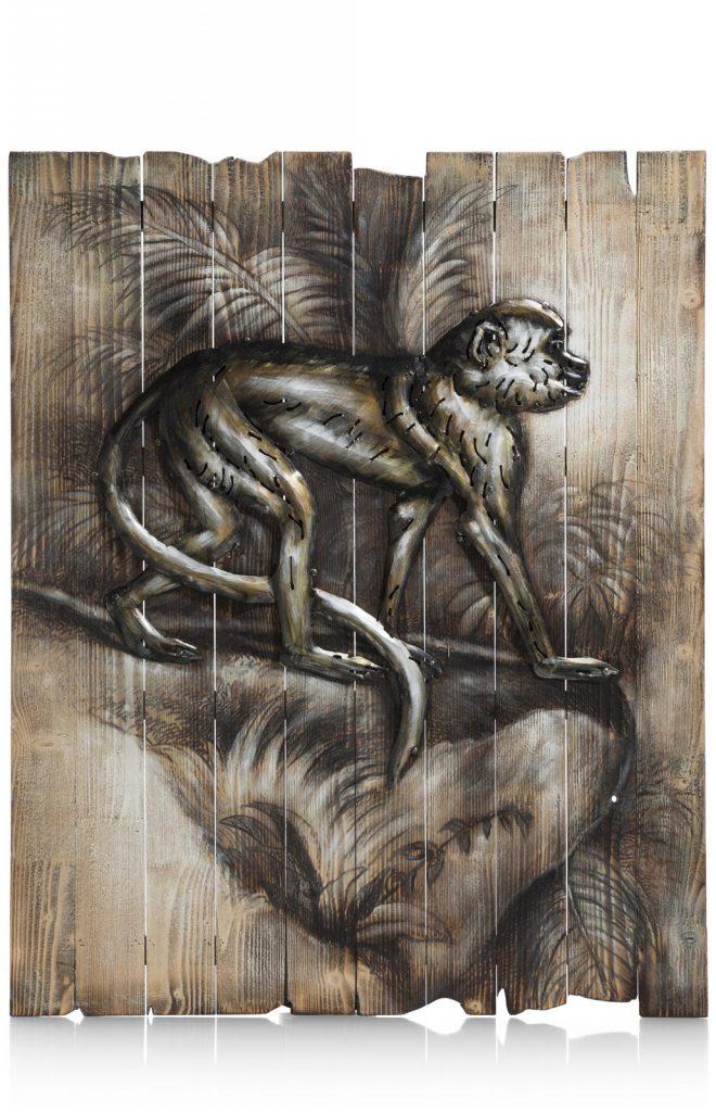 Peinture singe dans la jungle sur panneau de bois