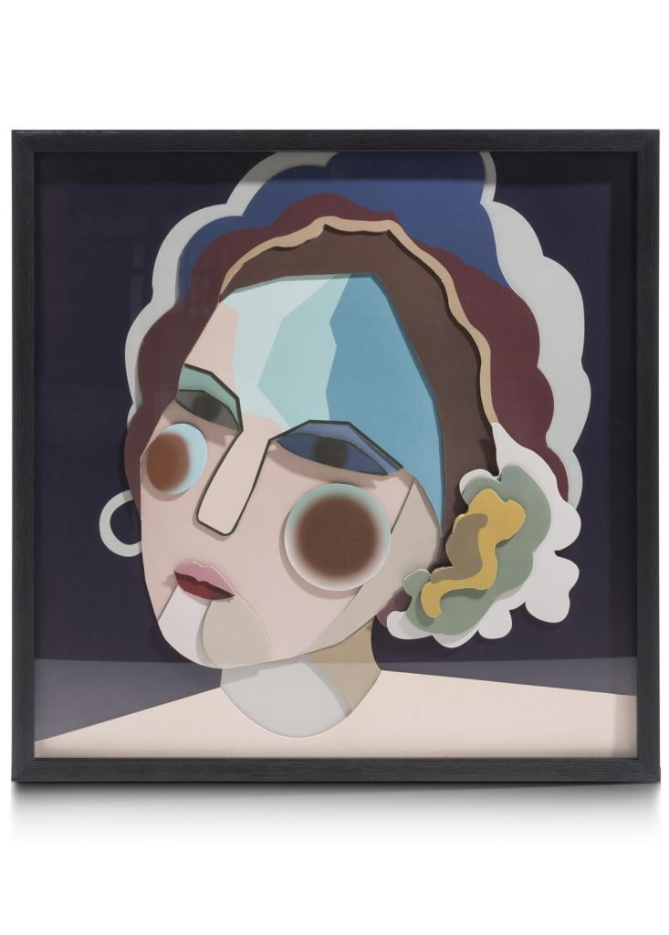 Peinture contemporaine colorée 3D visage de femme