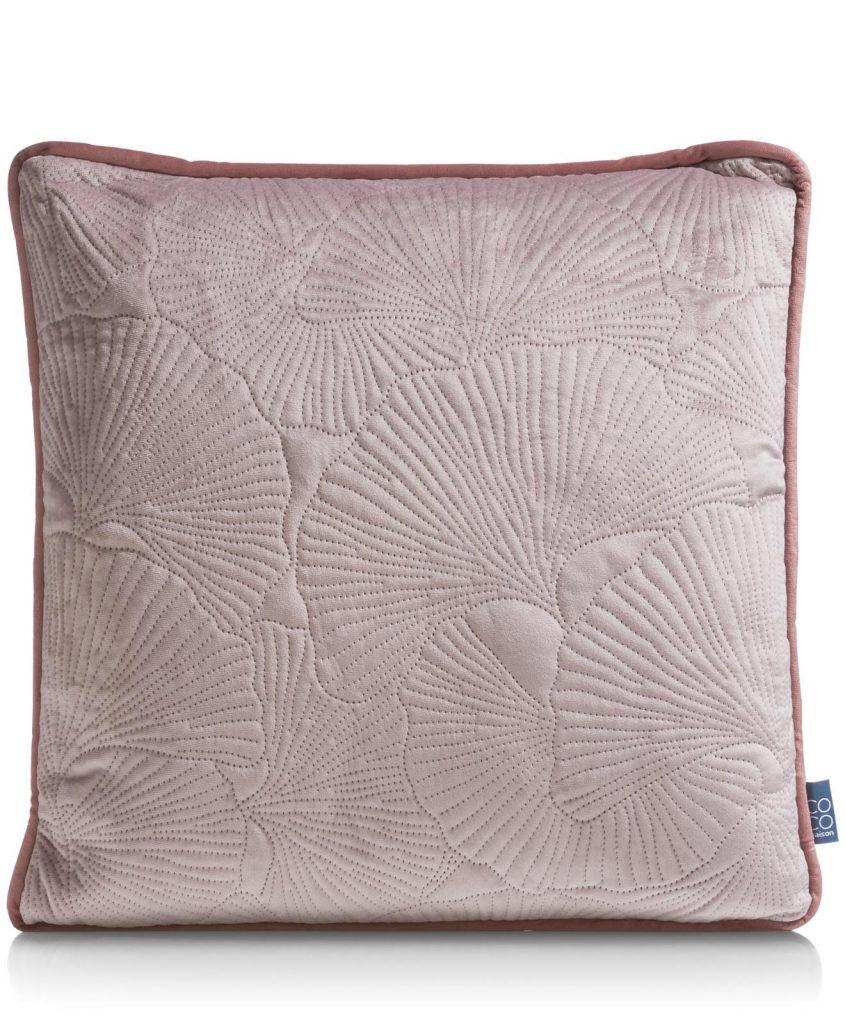 Coussin double face couleur vieux rose et motif végétaux avec passepoil