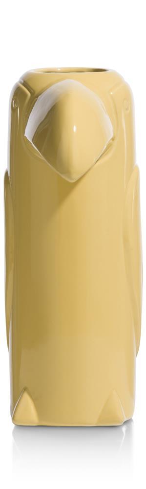 Vase haut en céramique jaune forme toucan