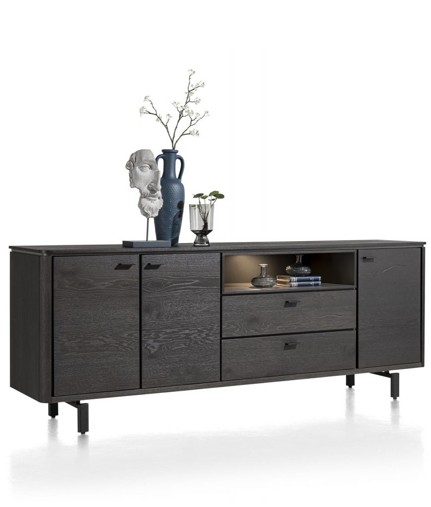 Buffet moderne noir placage bois de chêne