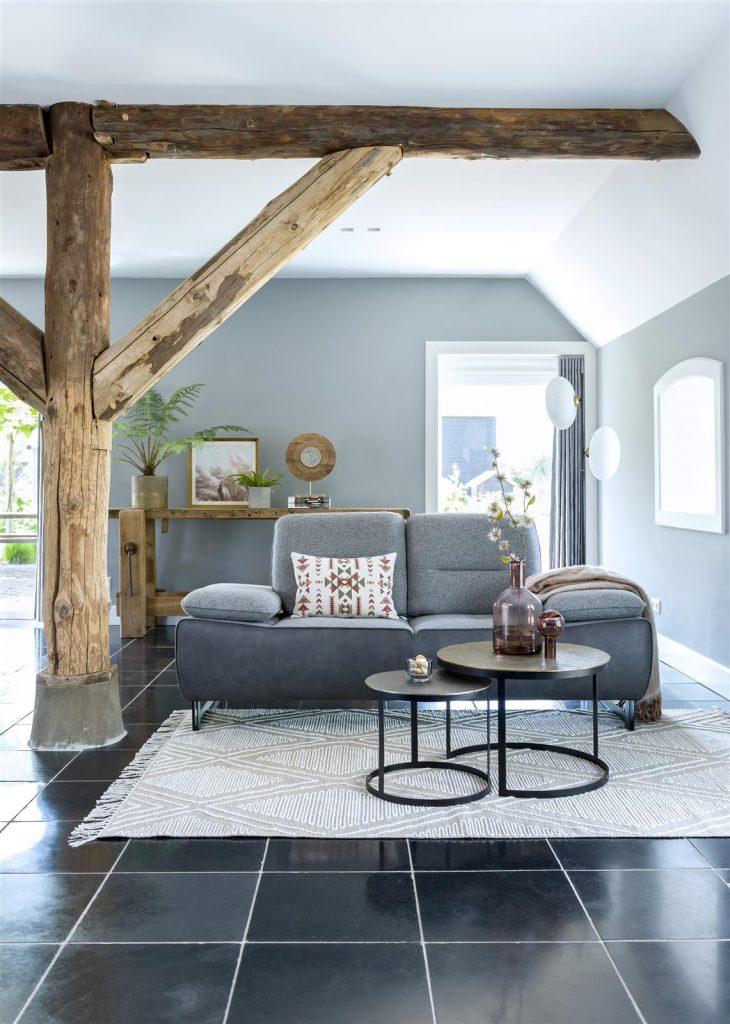 Salon contemporain avec canapé 2 places bi-matières