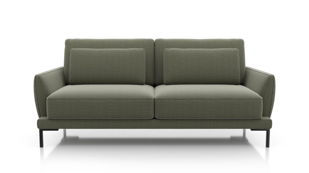 Canapé 3 places contemporain en tissus vert