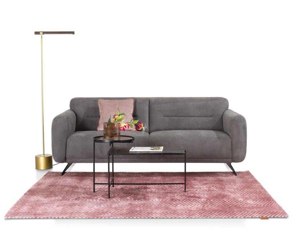 Salon avec canapé 3 places en tissus gris