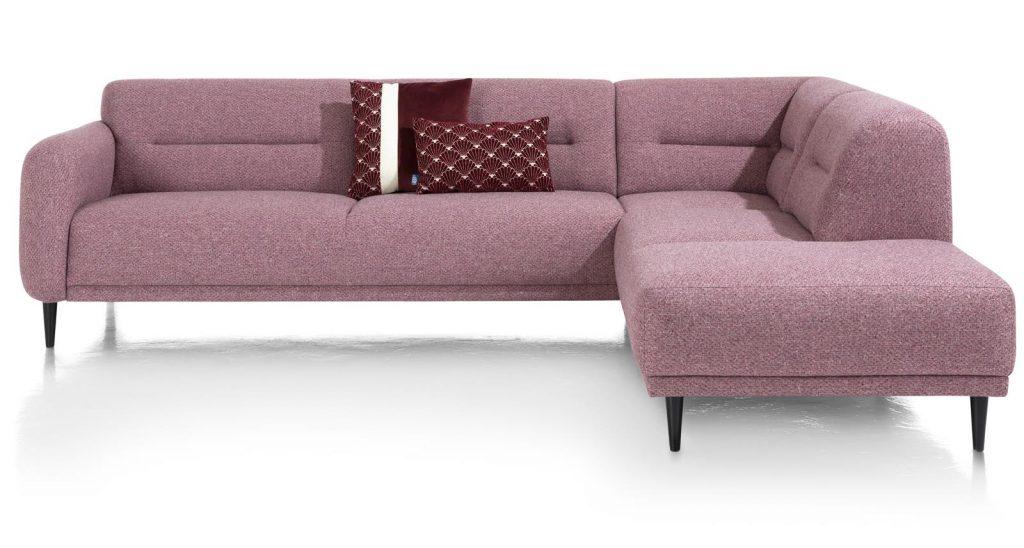 Canapé d'angle moderne en tissus rose