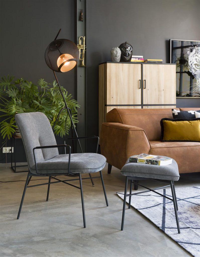 Fauteuil et pouf contemporain et minimaliste en tissus gris anthracite