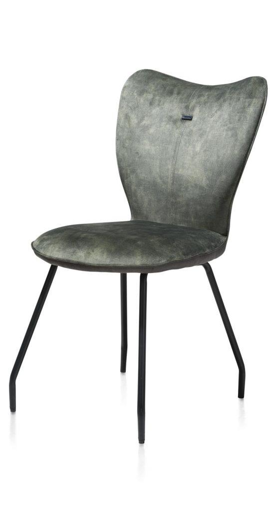 Chaise contemporaine en velours vert olive