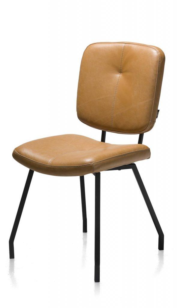 Chaise en cuir marron style rétro