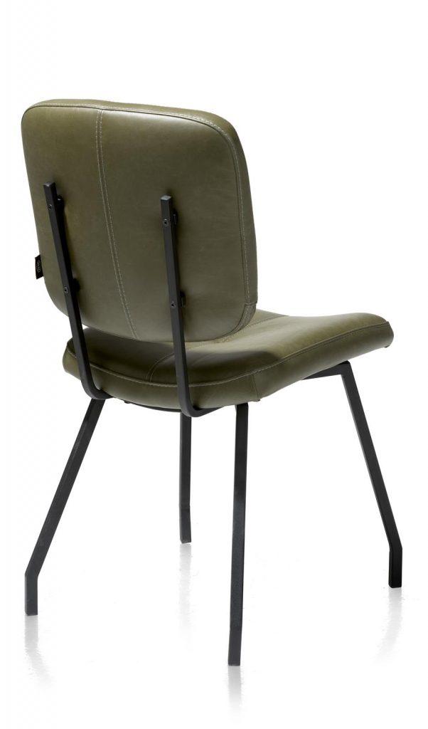 Chaise en cuir vert olive style rétro