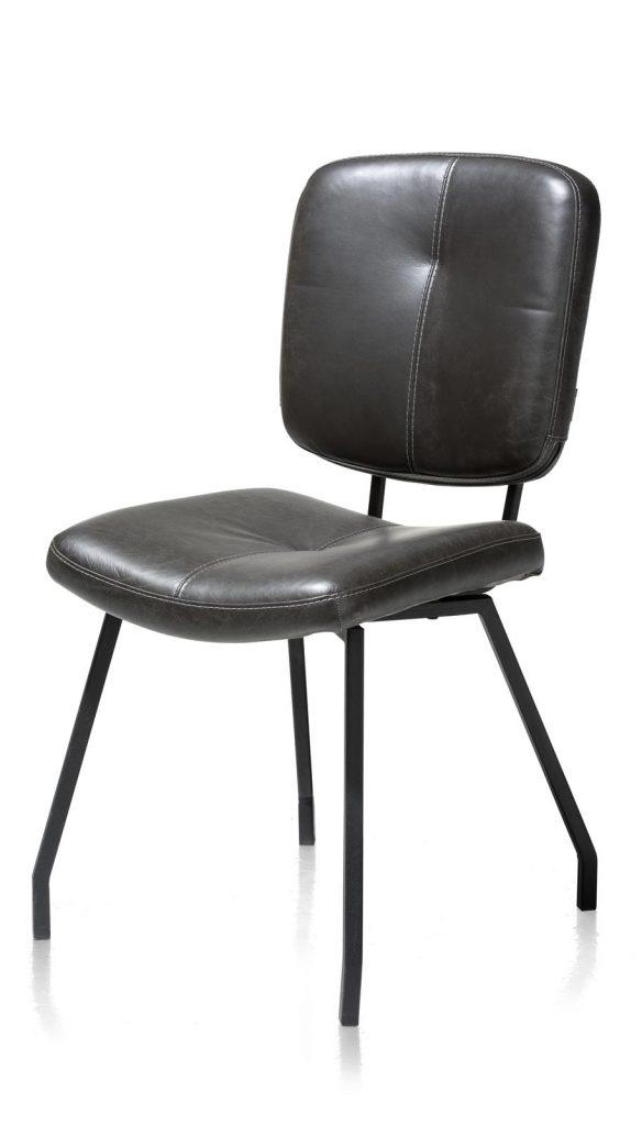Chaise en cuir gris anthracite style rétro