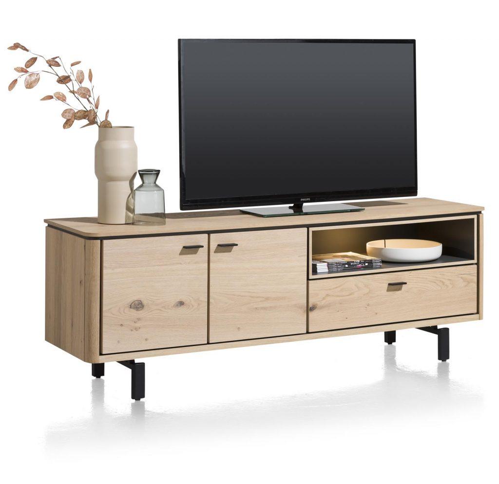 Meuble TV moderne placage bois de chêne clair