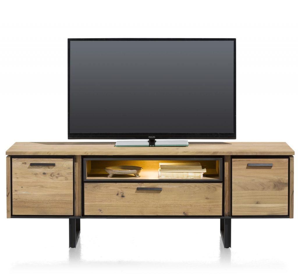 Meuble TV style industriel en bois de kikar massif avec éclairage LED