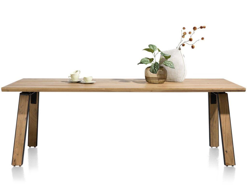 Grande table à manger robuste et industrielle en bois de kikar massif pour 8 personnes