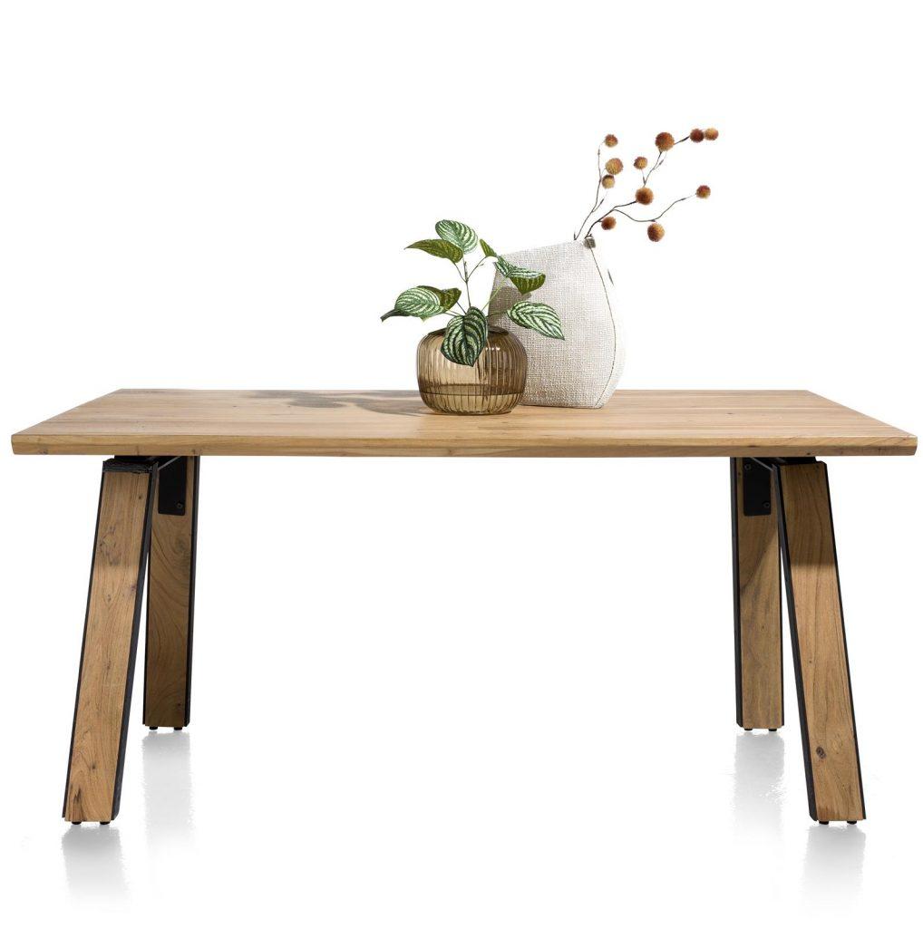 Table robuste et industrielle en bois de kikar massif pour 6 personnes