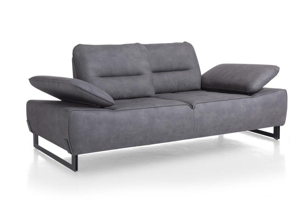 Canapé confortable et contemporain en cuir gris personnalisable